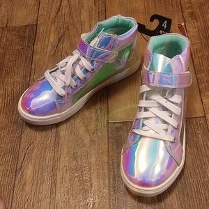 Holographic glitter laces girls size 4 sneakers